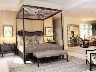 Marge Carson Furniture King Rosewood Tango Canopy Poster Bed Bench Set
