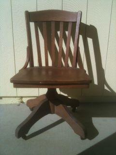 Antique Wooden Desk Chair by Milwaukee Chair Co 1800's Wooden Oak Shaft Wheels