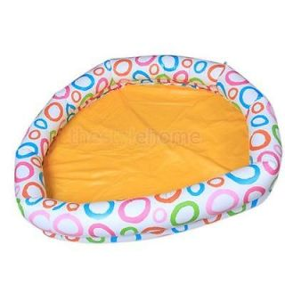 Big Inflatable Kids Yellow Base White Ring Water Play Pool with Round Shape New