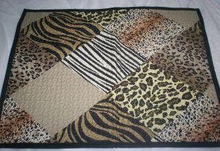 "New J Queen New York ""Safari"" 3P Full Queen Quilt Shams Set Zebra Leopard"