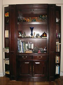 Cherry Wood Book Case Mahogany Wall Unit Solid Wood Bookcase Glass Shelf