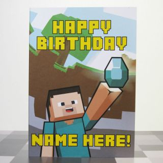 Personalised Birthday Card Inspired by Video Games Minecraft Steve 2