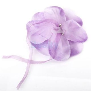 Purple Silk Artificial Flowers Curtain Tieback Holdback Hold Ribbon