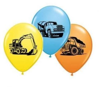 "Trucks Diggers Party Construction Trucks Assortment 11"" Latex Balloons x 5"