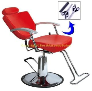Reclining Barber Chair Shampoo Salon Styling Free Scissors Comb Set PRO3RR 3D