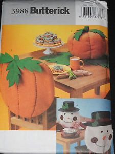 patterns Pumpkin Butterick  Chair  runner Back Runner Table Top Cover Snowman top 3988  table