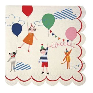 TOOT Sweet Childrens Circus Birthday Party Pack 20 Small Paper Napkins