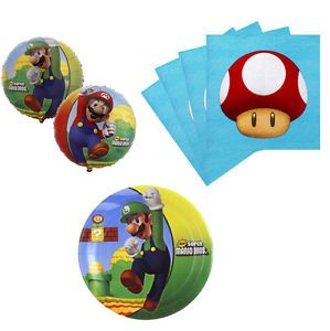 Super Mario Birthday Party Supplies Kit Table Set for 16 24 or 32 Balloon New