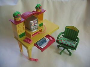 Fisher Price Loving Family Dollhouse Home Office Computer Desk Chair Set RARE