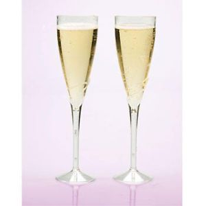 """100 9"""" Champagne Flutes Glasses Plastic Party Supply"""