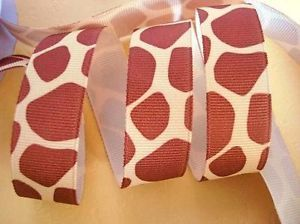 "5 Yard or 25 Yard Roll Grosgrain 7 8"" Ribbon Baby Giraffe Wild Animal Print R140"