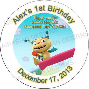 """24 HENRY HUGGLEMONSTER HUGGLE MONSTER BIRTHDAY ROUND 2.5"""" FAVORS STICKER LABELS"""