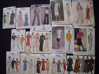 Vogue Vintage Patterns Misses' Blouses Tops Shirts Pants Jackets Dress U Pick