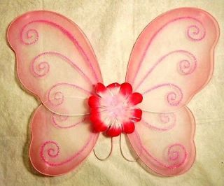 "Pink w Flower Fairy Pixie Butterfly Wings 17""x15"" Costume New w Defect"