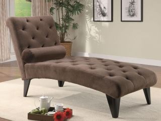 Brown Velour Living Room Chaise Sofa Lounge Chair Coaster Fine Furniture 550069