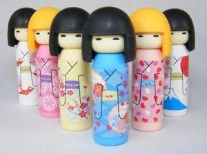 6pcs Kokeshi Doll Japanese Iwako Erasers