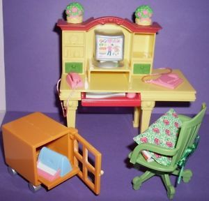 Fisher Price Loving Family Dollhouse Computer Desk Chair Printer Cabinet