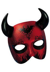 Red Devil Mask Masquerade Mask Lucifer Beelzebub Half Face Mask with Horns