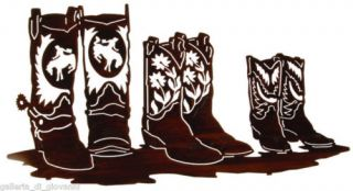Cowboy Boots Family Affair Metal Wall Art Western 24""