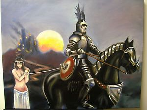 The Slave Bride Conan Elric Ancient Antique Warrior Knight Original Fantasy Art