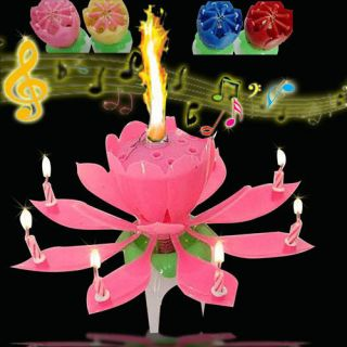 Musical Blossom Lotus Flower Candle Birthday Party Music Sparkle Birthday Candle