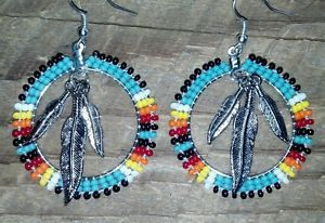 Native American Beaded Feather