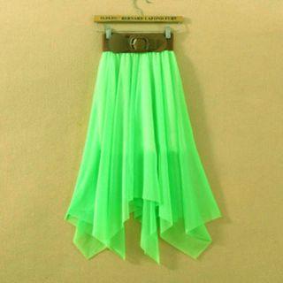 Fashion Sexy Lady Chiffon Pleated Retro Long Maxi Dress Elastic Waist Skirt Belt