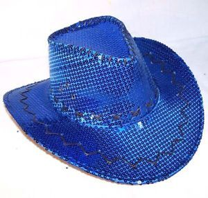 Sequin Blue Cowboy Hat Party Supply Western Dance Hats