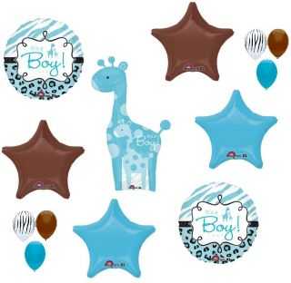 Giraffe Boy Safari Jungle Brown Blue Black Baby Shower 13 Mylar Balloons Kit Set