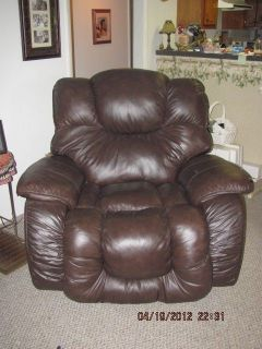 Lane Comfort King Brown Leather Rocker Recliner Big Man Chair Very Nice