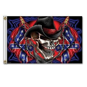 Skeleton Cowboy Rebel Confederate Flag 3'x5' Wall Flags