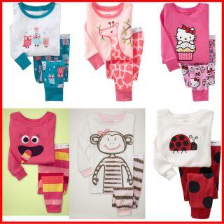 New Girls Long Sleeve Pyjamas Baby Toddler Kids Sleepwear Pajamas PJs 1 7 Yrs