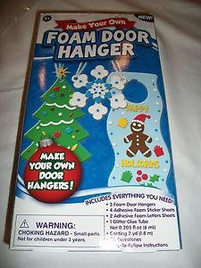 Kid Foam Door Hanger Kit Craft Holiday Christmas Tree Snowflake Gingerbread Man