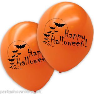 20 Happy Halloween Printed Orange Balloons Vampire Bats