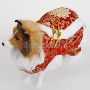 Pet Dog Chinese Tang Dress Suit Coat Apparel New Year Party Costume s M L XL
