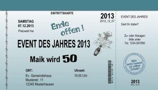 10 Eintrittskarten Einladungskarten 18 30 40 50 Geburtstag