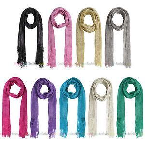 Ladies Lurex Metallic Glitter Thread Skinny Long Neck Head Scarf Sash 9 Colours