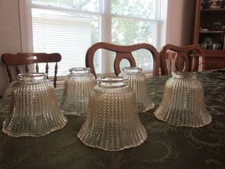 Vintage Set 5 Beaded Tulip Iridescent Glass Chandelier Fan Light Shades Globes