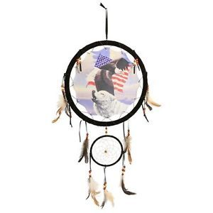 "New 13"" American Flag Wolf Eagle Dream Catcher Wall Hanging Decor Feathers Beads"