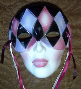 Woman Wall Hanging Face Mardi Gras Theatrical Mask Porcelain Ceramic Head B