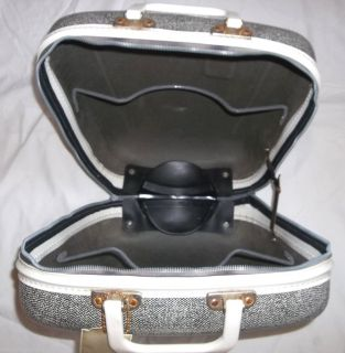 Vtg Hard Side Brunswick Single Ball Bowling Bag Case Mens Womens Black White