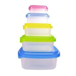Piece Plastic Food Container Set 5 Plastic Nested Storage Containers with Mult