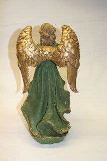 "18"" Renaissance Angel Musician w Harp Christmas Holiday Decoration Hand Crafted"