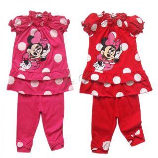 Girl Kid Minnie Mouse Outfit Polka Dots Top Dress Leggings Pants 2pc Sets Sz 2 6