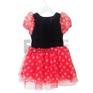 Girl Minnie Mouse Polka Dots Short Sleeve Casual Dress 3T Clothing Party Costume