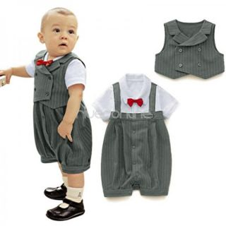 2pc Baby Boys Infant Gentleman Outfits Sets Vest Romper Suit Sz 12 18 Months
