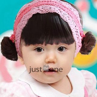 Pretty Baby Toddler Kids Girls Pink Lace Elastic Hairwrap Headband with Bang Wig