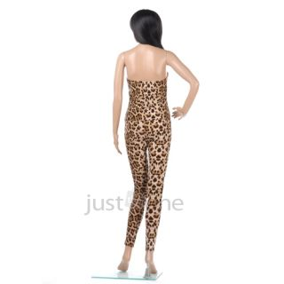Sexy Lady Women's Leopard Strapless Chest Wrap One Piece Trousers Jumpsuit Pants