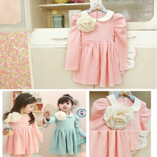 Girls Kids One Piece Tutu Dress Lapel Flowers Pearl Skirts Party Costume 2 8Y