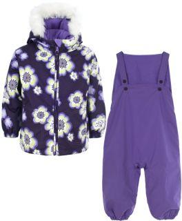 Girls Trespass Purple Ski Jacket Salopettes Pants Snow Suit Set 18 24 Months